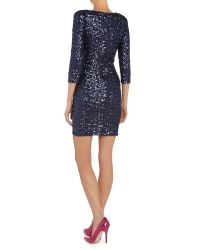 TFNC London | Blue Sequin Bodycon 3/4 Sleeve Dress | Lyst