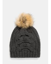 Violeta by Mango | Gray Knit Bobble Beanie | Lyst