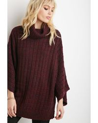 Forever 21 | Purple Marled Knit Turtleneck Poncho | Lyst