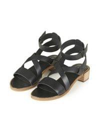 TOPSHOP - Black Florentine Strap Sandals - Lyst
