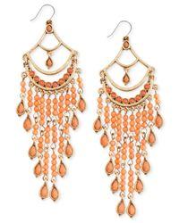 Lucky Brand - Orange Gold-Tone Carnelian Chandelier Drama Earrings - Lyst