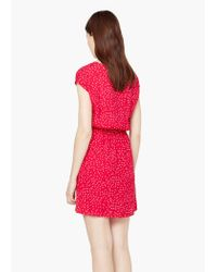 Mango - Red Flowy Print Dress - Lyst