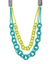 Trina Turk | Green Two-tone Mesh Statement Necklace | Lyst