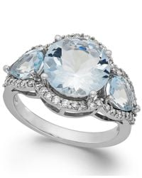 Macy's | Blue Aquamarine (4-3/8 Ct. T.w.) And Diamond (3/8 Ct. T.w.) Ring In 14k White Gold | Lyst