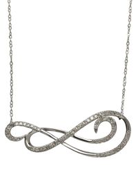 Lord & Taylor | 14k White Gold Diamond Scroll Necklace | Lyst