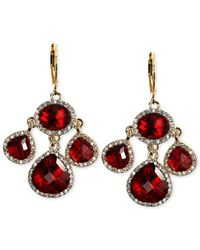 Anne Klein - Red Gold-Tone Siam Stone And Crystal Pave Chandelier Earrings - Lyst