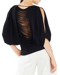 BCBGMAXAZRIA | Black Kyleigh Split-sleeve Deconstructed-back Top | Lyst