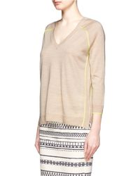 J.Crew - Natural Merino Tipped Side-panel V-neck Sweater - Lyst