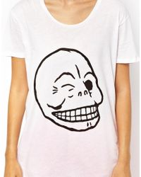 Cheap Monday - White Flirt Skull Tshirt - Lyst