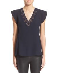 Rebecca Taylor | Blue V-neck Lace Inset Top | Lyst