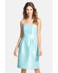 Alfred Sung | Blue Strapless Dupioni Dress | Lyst