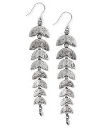 Lucky Brand - Metallic Silver-tone Fish Bone Linear Earrings - Lyst
