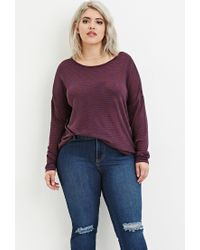 Forever 21 | Blue Plus Size Striped Slub Knit Top | Lyst