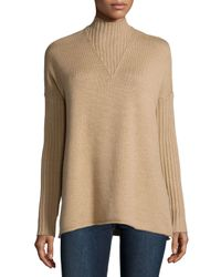 Tory Burch - Natural Mock-neck Long-sleeve Oversize Sweater - Lyst