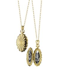 Monica Rich Kosann | Metallic 18k Gold Sunburst Oval Locket Necklace | Lyst