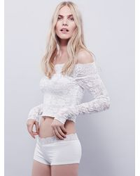 Free People | White Intimately Womens Barely There Lace Layering Top | Lyst