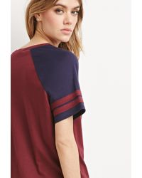 Forever 21 - Red Varsity-striped Tee - Lyst