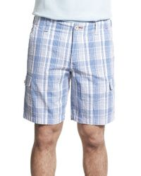 Tommy Bahama - Blue 'queensland Isles' Plaid Cargo Shorts for Men - Lyst