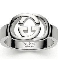 Gucci | Metallic Interlocking Gg Silver Ring for Men | Lyst
