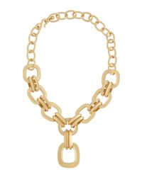 Kenneth Jay Lane - Metallic Golden Satin Pendant Necklace - Lyst