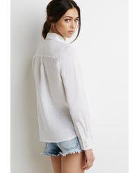 Forever 21 - White Linen Button-collar Shirt - Lyst