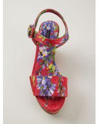 Dolce & Gabbana - Red Wisteria Print Brocade Wedge Sandals - Lyst
