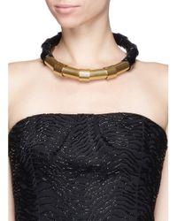 Lanvin - Metallic Brass Tube Choker Necklace - Lyst