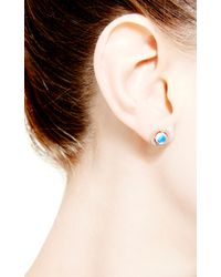 Dana Rebecca | Blue Emma Harper Round Earrings in 14k Rose Gold | Lyst