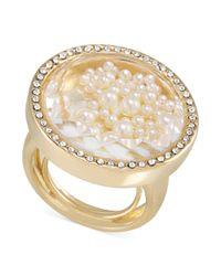 Carolee - Metallic 12k Goldplated Imitation Pearl Shaker Ring - Lyst