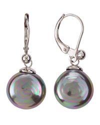 Majorica | Faux Gray Pearl Coin Dangle Earrings | Lyst