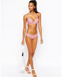 ASOS - Orange Fuller Bust Mix And Match Stripe D+ Plunge Halter Bikini Top Dd-g - Lyst