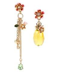 Betsey Johnson | Metallic Tutti Frutti Mismatched Pineapple Drop Earrings | Lyst