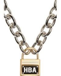 Hood By Air | Metallic Silver Embellished Padlock Necklace | Lyst