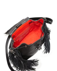 Christian Louboutin - Black Lucky L Convertible Fringed Pebbled Leather Backpack - Lyst