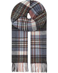 Johnstons | Orange Check Lambs Wool Scarf for Men | Lyst