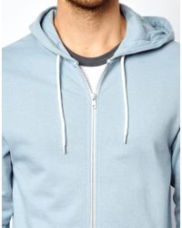 ASOS - Blue Zip Through Hoodie for Men - Lyst
