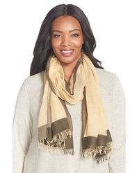Eileen Fisher - Natural Colorblock Organic Cotton Gauze Scarf - Lyst