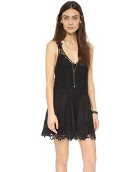 Free People | Black Shes Got It Scalloped Lace Slip Dress | Lyst