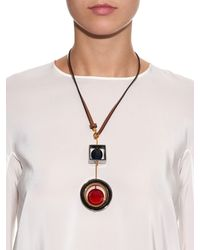 Marni | Red Double Pendant Leather & Resin Necklace | Lyst