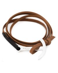 Miansai - Brown Modern Anchor Two-tone Wrap Bracelet - Lyst