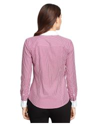 Brooks Brothers | Red Fitted Cotton Houndstooth Dress Shirt | Lyst