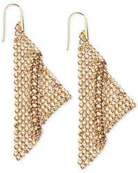 Swarovski - Metallic Gold-Tone Crystal Mesh Drop Earrings - Lyst