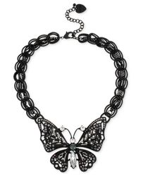 Betsey Johnson | Black-Tone Filigree Butterfly Pendant Necklace | Lyst