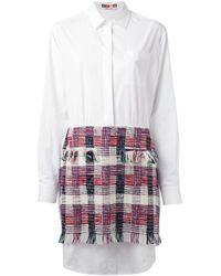 MSGM | Pink Bouclé Skirt Shirt Dress | Lyst