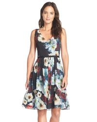 Maggy London - Black Floral Chiffon Fit & Flare Dress - Lyst
