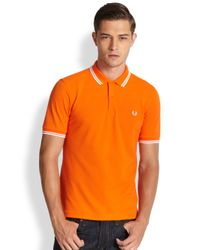 Fred Perry - Orange Twin Tipped Polo for Men - Lyst