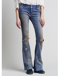 Free People | Blue Destroyed 5 Pocket Flare | Lyst