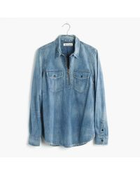 Madewell | Blue Rivet & Thread Denim Zip-front Popover Shirt | Lyst