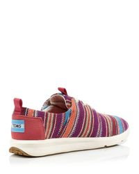 TOMS - Red Flat Lace Up Sneakers - Del Ray Tribal - Lyst