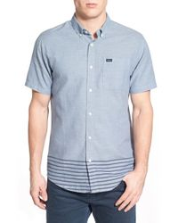 RVCA | Blue 'that'll Do Layers' Trim Fit Short Sleeve Stripe Oxford Woven Shirt for Men | Lyst